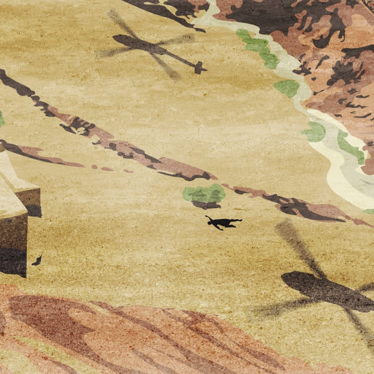 A body was seen from a helicopter near the village of Darwan. Illustration by Matt Davidson based on witness account.