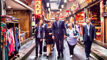 Daniel Andrews visiting Chengdu, China, in 2015 to strengthen Victoria's ties by entering a sister-city agreement.