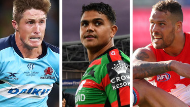 Alex Newsome of the Waratahs, Latrell Mitchell of Souths, and Lance Franklin from the Swans.