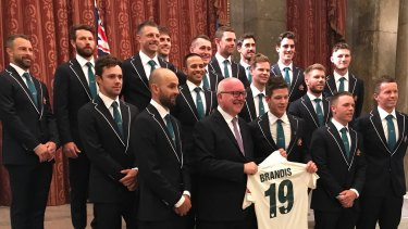 The Australian cricket team at Australia House in London.