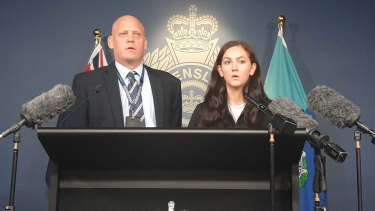 Detective Inspector David Briese and Lili Greer front the media the day before the eighth anniversary of the disappearance of Ms Greer's mother, Tina.