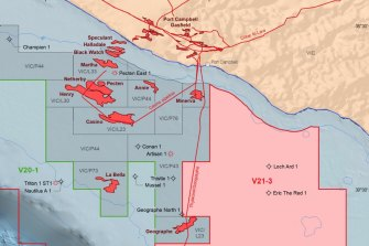 The area marked V21-3 has been opened for exploration by the federal government.