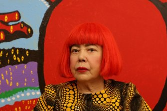 Yayoi Kusama, in front of Life is the Heart of a Rainbow (2017), is one of five women who dominate sales by female artists.