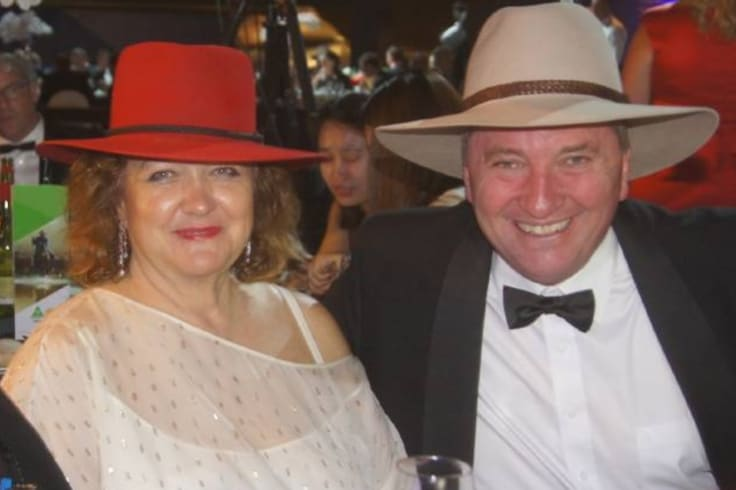 Fangirl: Gina Rinehart and Barnaby Joyce at the National Agriculture Day celebration last November.