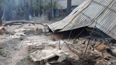 Damage to property following a fire at Carnarvon National Park on Wednesday night.