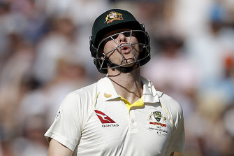 Steve Smith after falling victim to Stuart Broad in the second innings.