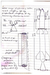 A hand-drawn diagram of a rocket.