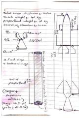 A hand-drawn diagram of a rocket.