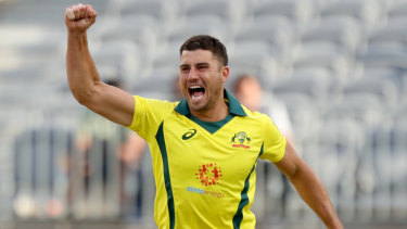 Leading the line: Marcus Stoinis was the best of Australia's fast bowlers, claiming three wickets in loss to South Africa.