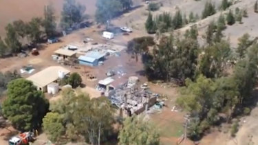 The home was razed in the alleged crime spree.