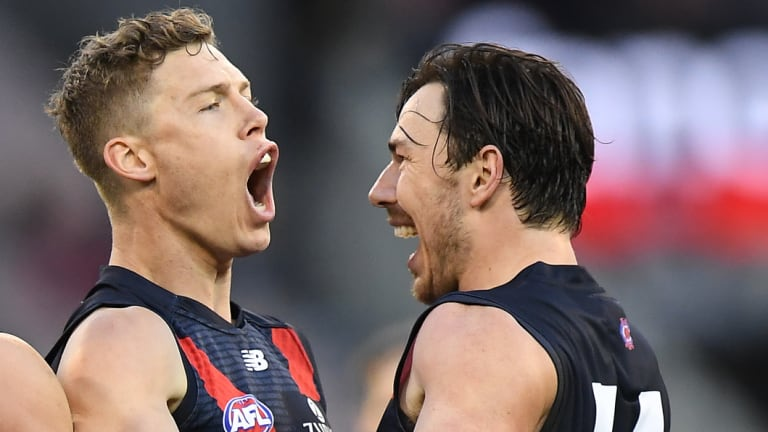 Best mates: Jake Melksham and Michael Hibberd are enjoying success at Melbourne.