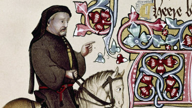 Geoffrey Chaucer as seen in the early 15th-century Ellesmere Manuscript of The Canterbury Tales.