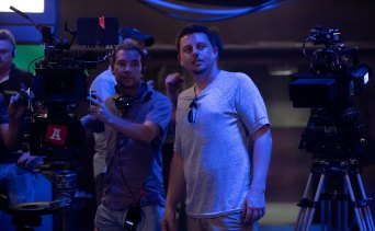 Luke Sparke (right) on the set of Occupation: Rainfall on the Gold Coast.