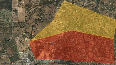 A bushfire emergency warning has been put in place for people bounded by Ashton Road, Chittering Road, Smith Road and Jess Road in the north eastern parts of Bullsbrook.Map at 4pm December 24.