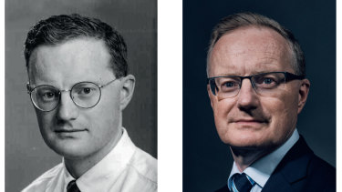 Philip Lowe in 1994 and in 2019. He settled on studying economics at university after his economics teacher at high school brought the subject alive.