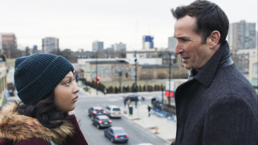 Aliyah Royale as Jira Calder-Brennan and Noah Wyle as Daniel Calder in The Red Line.