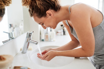 Double cleanse to break down grime and then deep clean the pores.