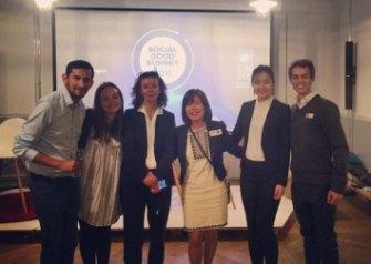 Marley Tinnock, second from left, at the inaugural Social Good Summit in Geneva.