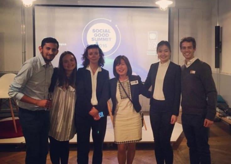 Marley Tinnock, second from left, at the inaugural Social Good Summit in Geneva.