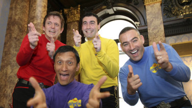 A 2006 file photo of The Wiggles, featuring Murray Cook (Red Wiggle), Greg Page (Yellow Wiggle), Jeff Fatt (Purple Wiggle), and Anthony Field (Blue Wiggle).
