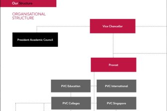 Murdoch University's organisational structure shows the PVC of Education and PVC of Colleges will be promoted into Deputy VC roles that will answer directly to the Vice Chancellor and Provost, respectively.