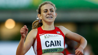 Mary Cain in the 3000m final of the 2014 IAAF World Junior Championships in Eugene, Oregon.