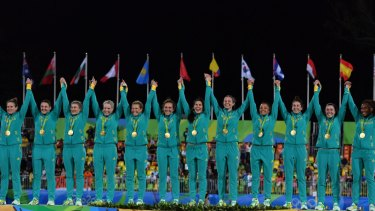 Given the game a boost: Australia's gold-medal winning rugby sevens team.