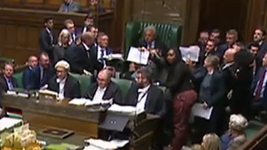 A scuffle erupted next to the Speaker's chair in UK Parliament as it was suspended.