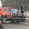Police attempt to smash the windscreen of a car before a man is arrested at Gymea on Friday.