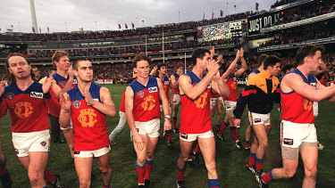 Fitzroy leave the field after their last game in Melbourne.