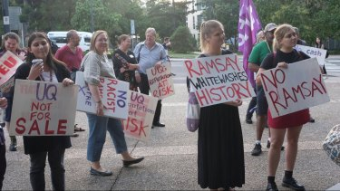 Moves by the private Ramsay Centre for Western Civilisation to begin courses at UQ prompt a protest.