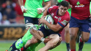 Perese playing for the Reds against the Highlanders in Super Rugby in Brisbane in 2018.