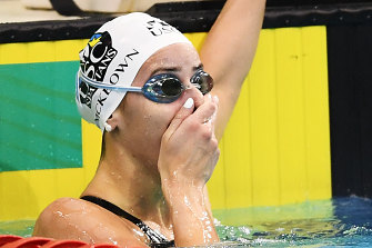 Kaylee McKeown reacts to breaking her world record. She shaved 0.12s off the previous mark.