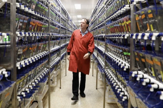 Peter Currie in the fish lab at Monash University's Clayton campus.