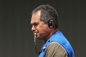 Wallabies head coach Dave Rennie oversees training on Tuesday.