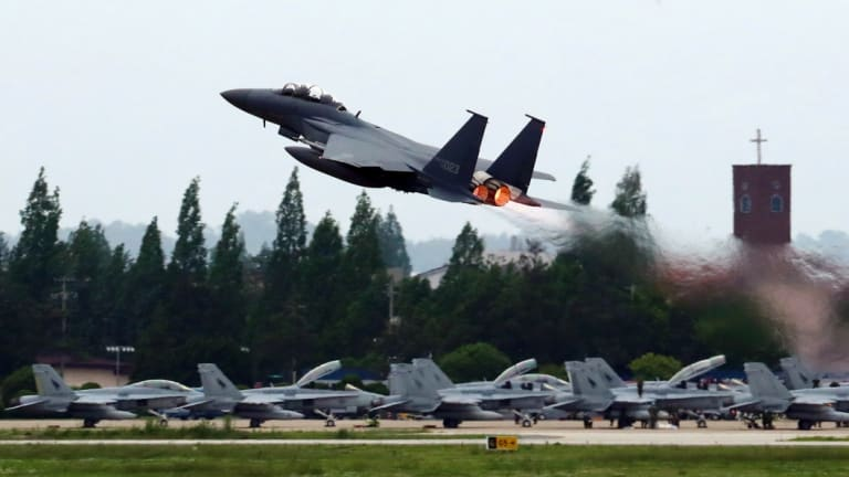 A South Korean Air Force fighter jet takes off from an air base.