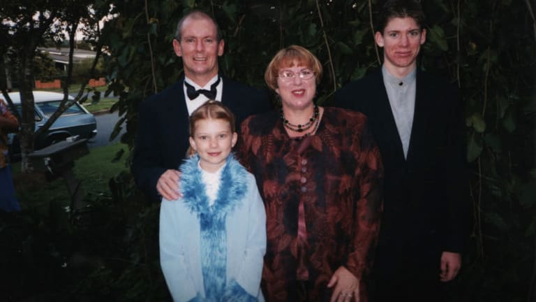 The Lee family – Bri's father, Bri, her mother and her brother – in 2001.