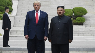 US President Donald Trump meets with North Korean leader Kim Jong-un at the border village of Panmunjom in the Demilitarised Zone.