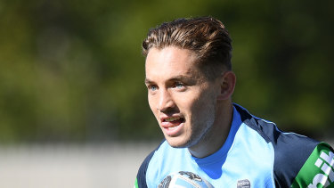 Cameron Murray takes part in Blues training in Sydney.