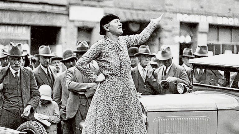 Feminist and anti-conscription campaigner Adela Pankhurst Walsh, taking her message to Sydney's streets in 1941.