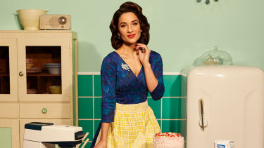 Living the '50s housewife fantasy is Andrea Demetriades playing Judy in Sydney production of the Broadway hit Home, I'm Darling.