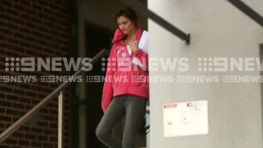 Harriet Wran filmed leaving Central Coast police station on Wednesday.