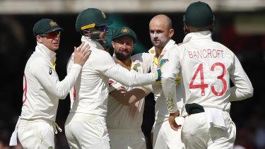 Nathan Lyon celebrates the wicket of Ben Stokes.