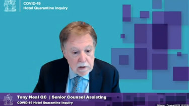 Tony Neal, QC, speaking at the Victorian hotel quarantine inquiry via video link on Monday.