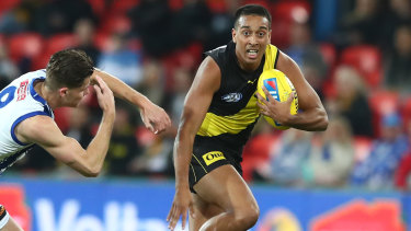 Making his mark: Richmond's Derek Eggmolesse-Smith in action during the round 7 win over North Melbourne.