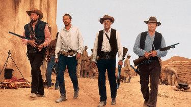 From The Wild Bunch: Ben Johnson, Warren Oates, William Holden and Ernest Borgnine.