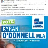 A Facebook post from Kyran O'Donnell which has a link to a how-to-vote website with Labor preferences.