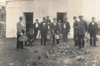Professional ratcatchers during the bubonic plague in 1900.