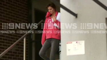 Harriet Wran filmed leaving Central Coast police station on Wednesday.