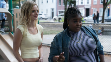 Samara Weaving plays Nelson Rose and Raven Goodwin is Eliza.